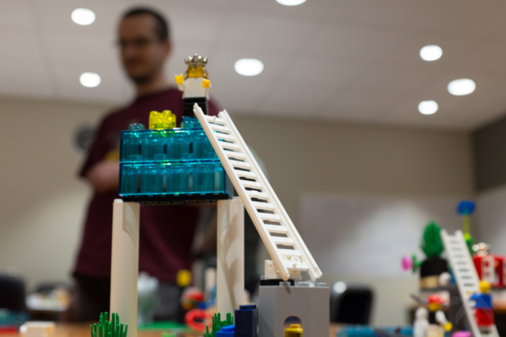 LEGO model with ladder. Man in background.